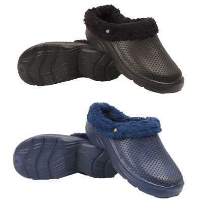 Mens Fur Lined Clog Winter Work Garden Chef  Slippers Slip On Sandals Shoes Size