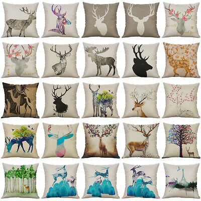 Deer Pattern Cotton Linen Soft Home Decorative Pillow Case Cushion Cover 18""