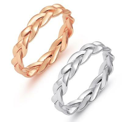 Gold/Silver Polished Twisted Ring Stainless Steel Fashion Women Rings Size 6-10