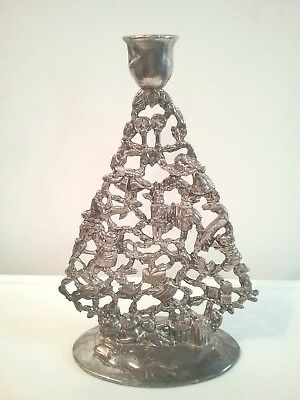 Antique Christmas Tree Candle Holder Elegance Silver Plated No Box.