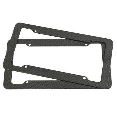 2Pcs Plastic Carbon Fiber Style License Plate Frames For Front & Rear Bracket