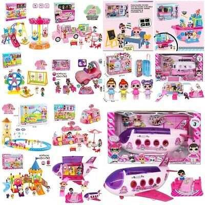 Kids LOL Surprise Doll Camp Ice Cream Car Track Playset Bus Plane Toy Xmas Gift