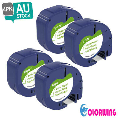 4pk LetraTag 91330 91200 Compatible with DYMO Label Tape refill White Paper 12mm