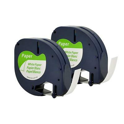 2PK 91330 Label Tape for Dymo Paper LetraTag label manager Black on White 12mm