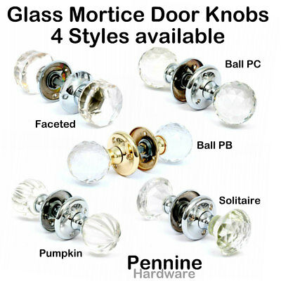 Solid Glass MORTICE DOOR KNOBS Handles 5 Styles Polished Chrome or Brass