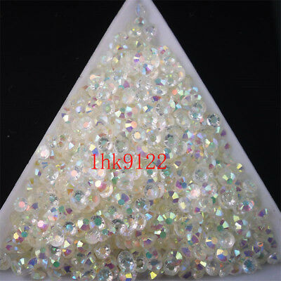 2-6mm Crystal White Jelly AB Crystl Resin Flatback Nail Art Rhinestones Beads