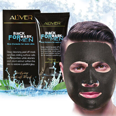 Men Purifying Blackhead Charcoal Face Mask Peel-Off Cleansing Black Remover 50ml
