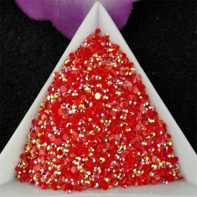 2-6mm Red Jelly AB Crystl Resin Flatback Nail Art Rhinestones Beads