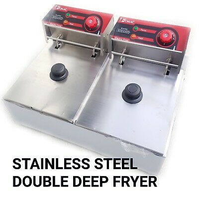 2x10 LITER ELECTRIC DEEP FRYER STAINLESS STEEL FOOD PROCESSING MACHINE FRY-EZL2