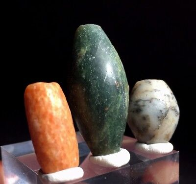 3 SUPERB neolithic beads, serpentine, orange stone , 1.57 inches