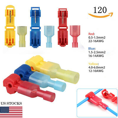 120pcs Insulated 22-10AWG T-Taps Quick Splice Wire Terminal Connectors Combo Kit