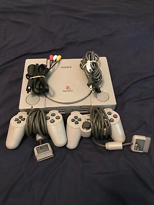 Sony Playstation 1 Console - PS1 2 CONTROLLERS Tested/Works Great