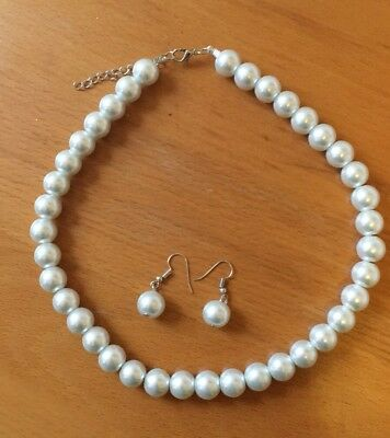 Faux Pearl Necklace and Earring Set White Wedding Bridesmaid