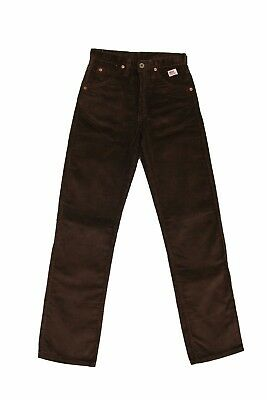 BNWT ROY ROGERS 80s GIRL'S JEANS VTG 80s BROWN STRAIGHT CORDUROY 14YRS Uk6 SUPER