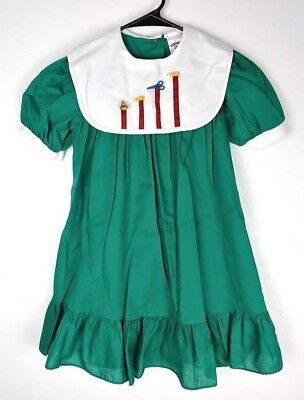 Vintage Sears Winnie The Pooh Green Bib Collar Dress with School Buttons Size 6X