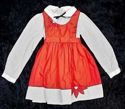 Vintage Sears Winnie The Pooh Solid Red Flower & Gray Striped Dress Set Size 5