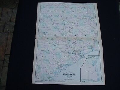 1874 Asher Adams Atlas Map State of Texas Large Size Genuine Antique