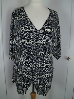 navy blue / cream aztec print playsuit size M / L 14 / 16 v neck vgc by Julie