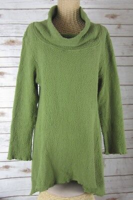 Click CMC Color Me Cotton Womens S Olive Green Textured Cotton Lagenlook Tunic