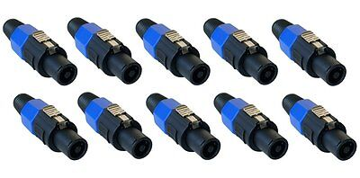 10 Pack - Speakon Male Plug 4 Pole Conductor Pro Audio Speaker Cable Connectors
