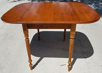 Vintage L Hitchcock Drop Leaf Dining Table With Rare Hand Turned Legs