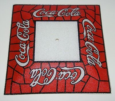 COMPLETE Fixture ~ Vintage Coke Cola Ceiling Light Stained Glass Square Shade