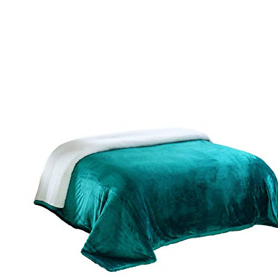 Chezmoi Collection Micromink Sherpa Reversible Throw Blanket Queen, Teal