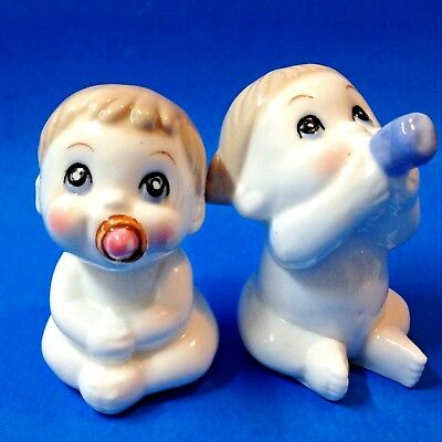 Babies - Ceramic Boy & Girl Salt & Pepper Shakers - Perfect, Gorgeous Condition