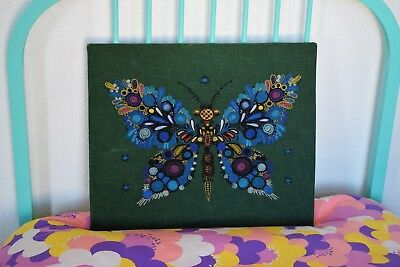 Large Vintage 60s 70s Kitsch Butterfly Embroidery Tapestry Picture