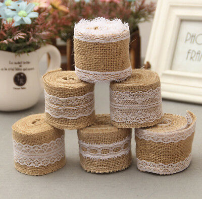 2M Trims Tape Rustic Wedding Party Natural Jute Burlap Hessian Ribbon with Lace