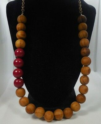 """Vintage Wood Bead With Red Acrylic Bead Gold Tone Link Metal Necklace 28"""" Long"""