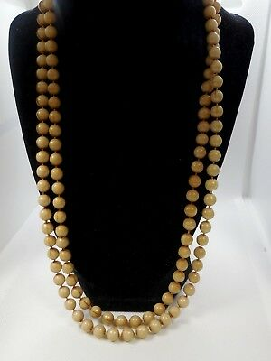 """Vintage  Small Acrylic Ligth Brown Bead Necklace 25"""" Long"""