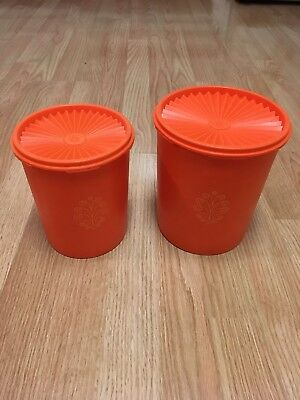 Vintage Tupperware 807-8 Orange Canisters & 809-13 Lot of 2 (4 total pieces) EVC