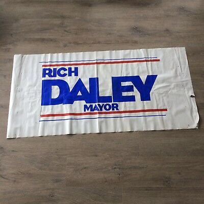 Vintage RICH DALEY Campaign Vinyl Banner CHICAGO Mayor Richard M Daley 26 x 54""