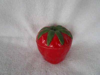 Lovely~Vintage Red Strawberry Milk Glass Jam Jar With Lid