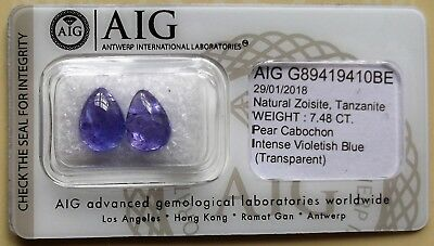 Tanzanite 7.48Ct Pair Colour Intense Violetish blue AIG Certified Natural G023
