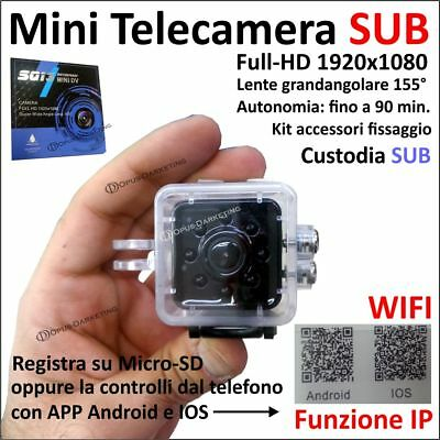 Mini Telecamera Sport Spia Sq13 Full Hd Wifi Sub Ip Sensore Movimento Waterproof