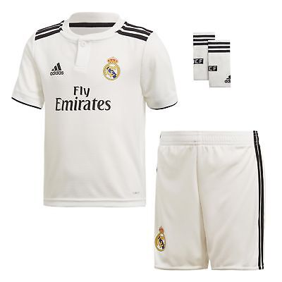 8268bb062 ADIDAS REAL MADRID 2018 19 Kids Mini Home Football Soccer Kit Set White -  EUR 45