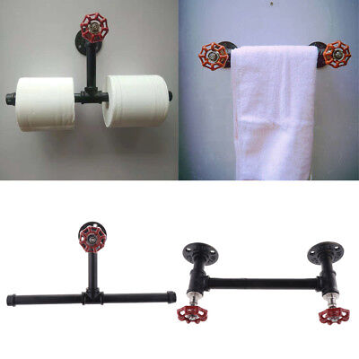 Vintage Industrial Iron Pipe Bathroom Toilet Roll Paper Holder Wall Mounted