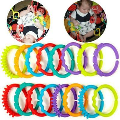 24 Pcs Baby Rainbow Teether Plastic Ring Links Kids Infant Stroller Gym Play Toy