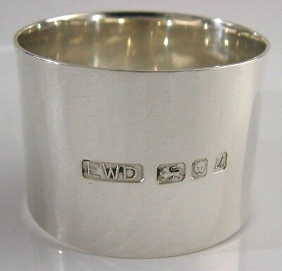 Contemporary Hand Planished Solid Silver Napkin Ring London 1994
