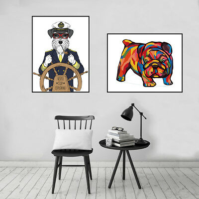 Cute Pug Dog Canvas Oil Painting Poster Picture Living Room Wall Home Art Decor