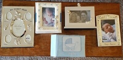 Lot of 5 Green Tree Gallery Roman Malden Batism Boy Baby Picture Frames Album