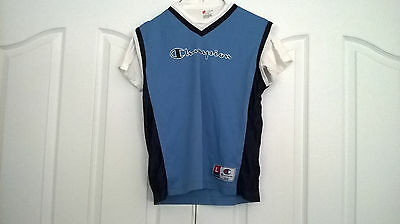 Champion Light Blue Basketball Jersey Athletic Apparel Youth Large w/Wh T-Shirt