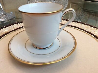 Noritake Allison Footed Cup & Saucer Fine China  White, Gold Trim  *japan*