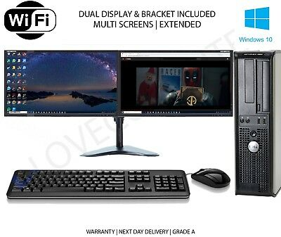 FULL DUAL SCREEN DUAL CORE DESKTOP TOWER PC&LCD,WIN 7/10 16GB 3TB or 240GB SSD