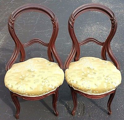 Pair of Antique Hand Carved Balloon Back Mahogany Chairs Asian Style Fabric