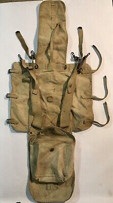 WWI M1928 Haversack Field Pack and Meat Can Pouch Vintage WW1 Desert Tan RIA