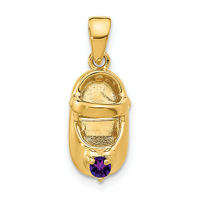 14k 3-D February/Synthetic Stone Engraveable Baby Shoe Charm