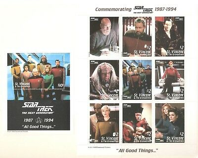 1994   St Vincent & The Grenadines - Sg 2655 / 2663 + Ms 2664 - Star Trek  - Umm